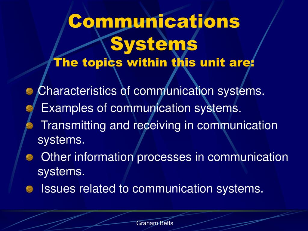 communications systems the topics within this unit are l.