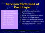 services performed at each layer