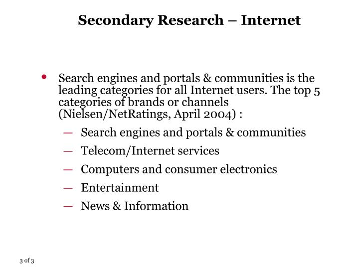 Secondary Research – Internet
