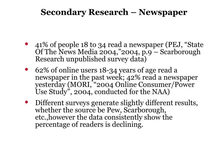 Secondary Research – Newspaper