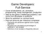 game developers full service