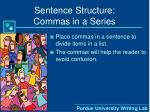 sentence structure commas in a series