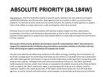 absolute priority 84 184w
