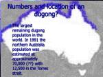 numbers and location of an dugong