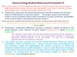 characterising modern behavioural economics ii