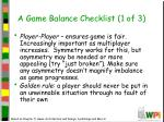 a game balance checklist 1 of 3