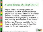 a game balance checklist 2 of 3