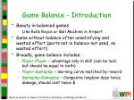 game balance introduction