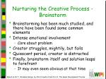 nurturing the creative process brainstorm