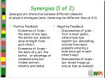 synergies 1 of 2