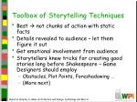 toolbox of storytelling techniques