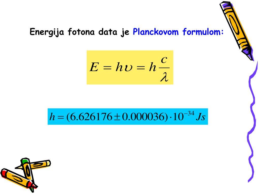 Energija fotona data je