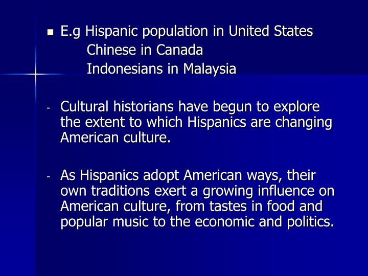 E.g Hispanic population in United States