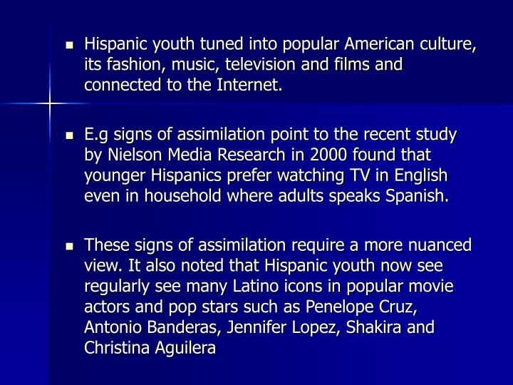 Hispanic youth tuned into popular American culture, its fashion, music, television and films and connected to the Internet.