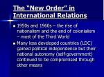 the new order in international relations