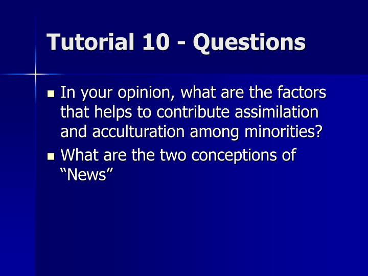 Tutorial 10 - Questions