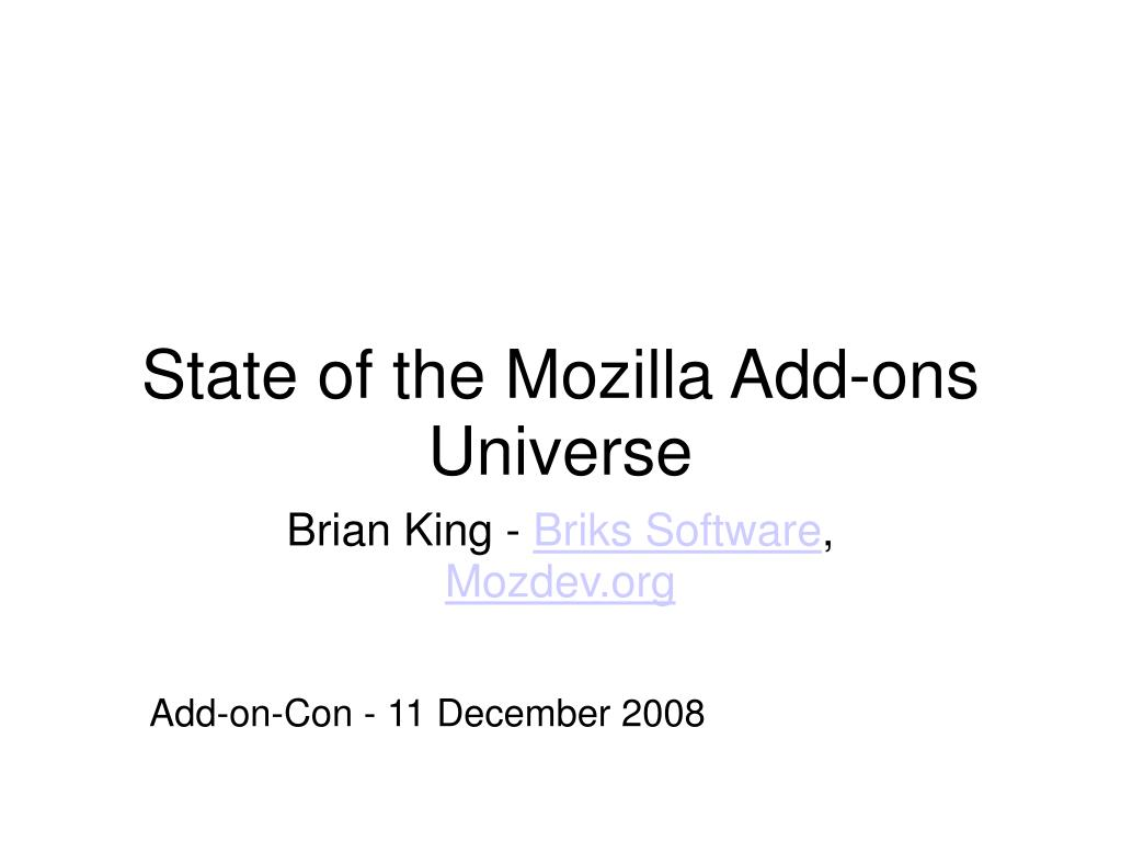 state of the mozilla add ons universe l.