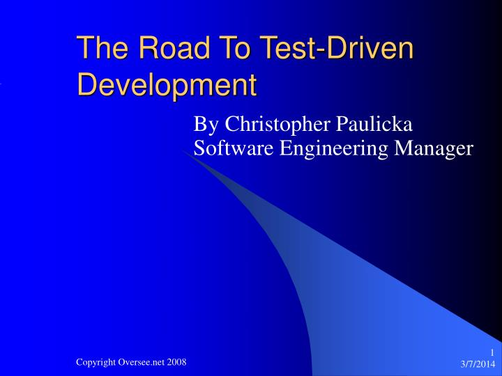the road to test driven development n.