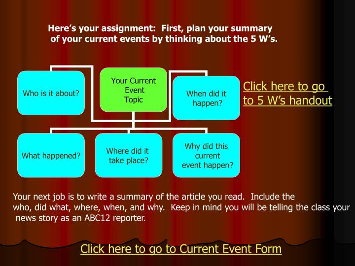 Here's your assignment:  First, plan your summary