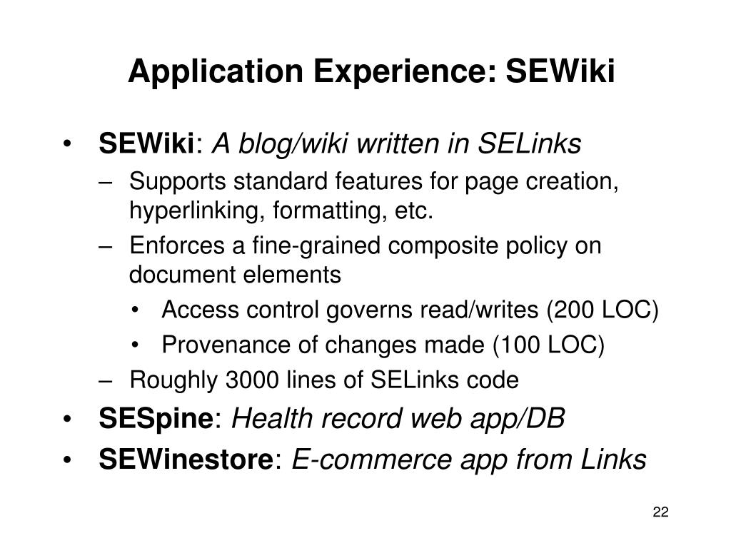 Application Experience: SEWiki