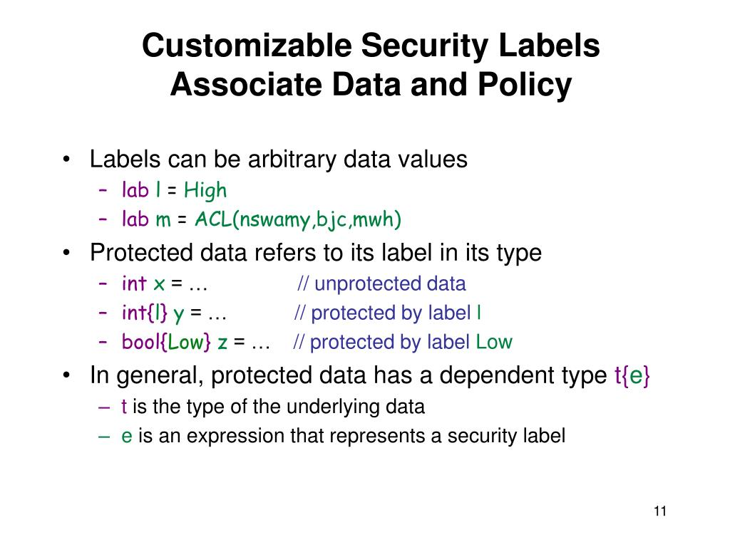 Customizable Security Labels
