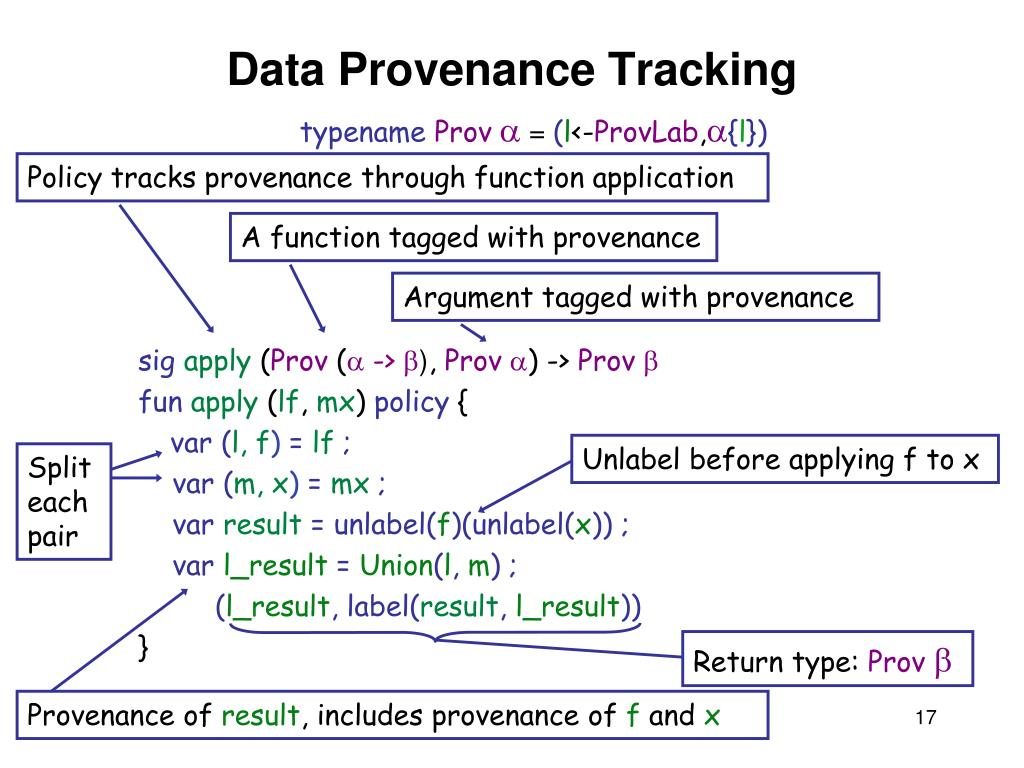 Policy tracks provenance through function application