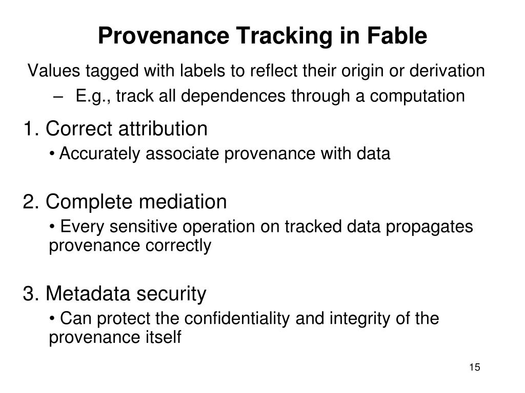 Provenance Tracking in Fable