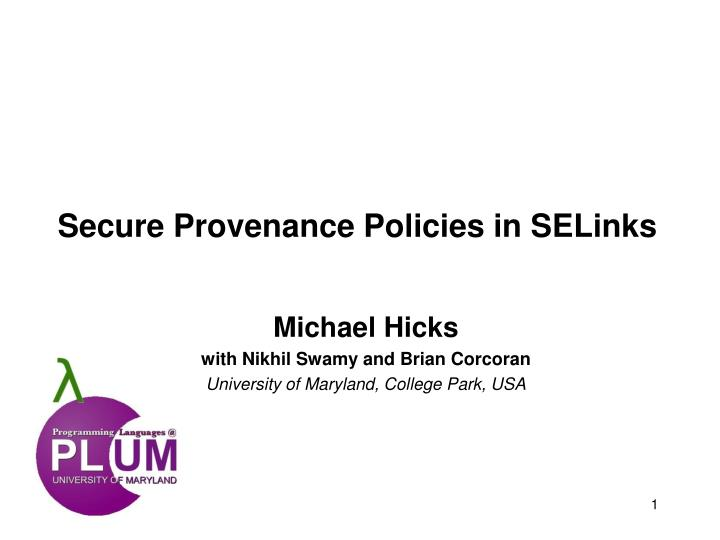 Secure provenance policies in selinks