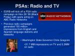 psas radio and tv