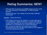 rating summaries new