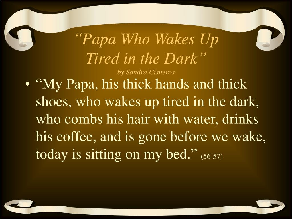 papa who wakes up tired in the dark by sandra cisneros l.