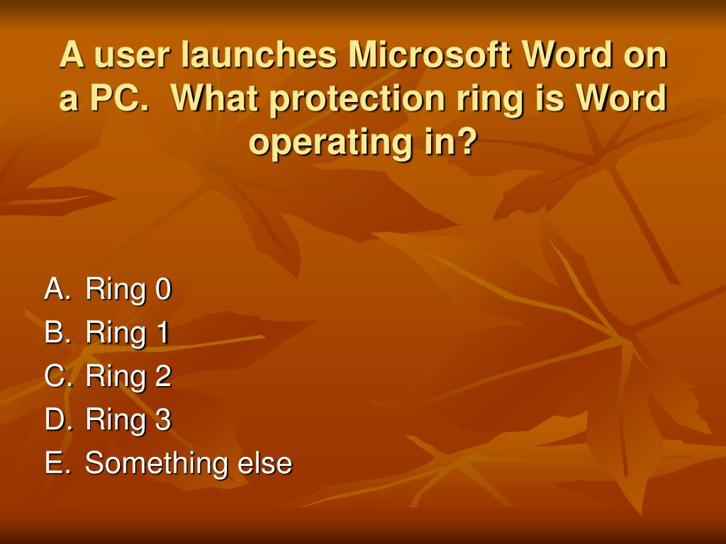 A user launches Microsoft Word on a PC.  What protection ring is Word operating in?