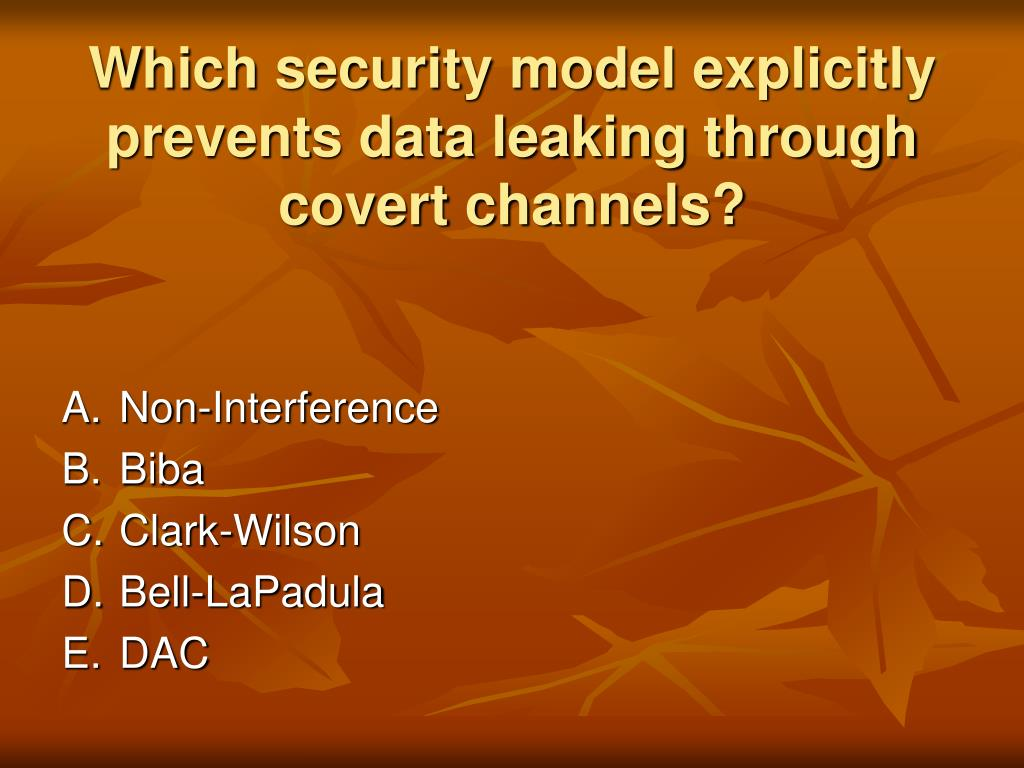 Which security model explicitly prevents data leaking through covert channels?
