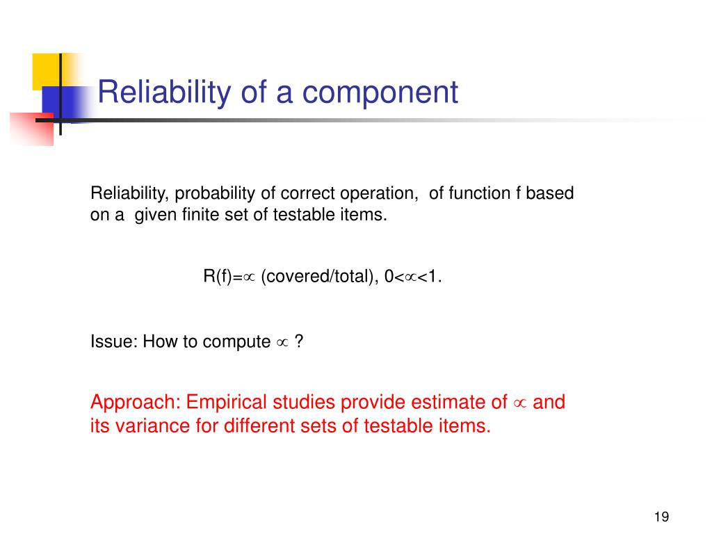 Reliability of a component