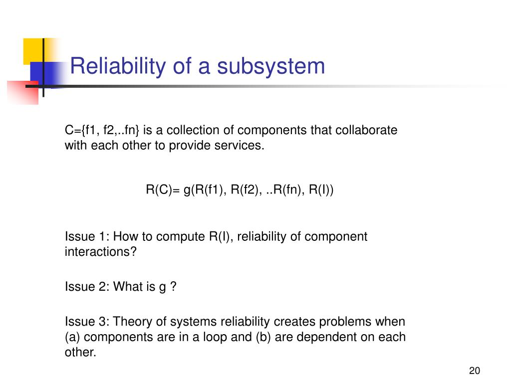 Reliability of a subsystem