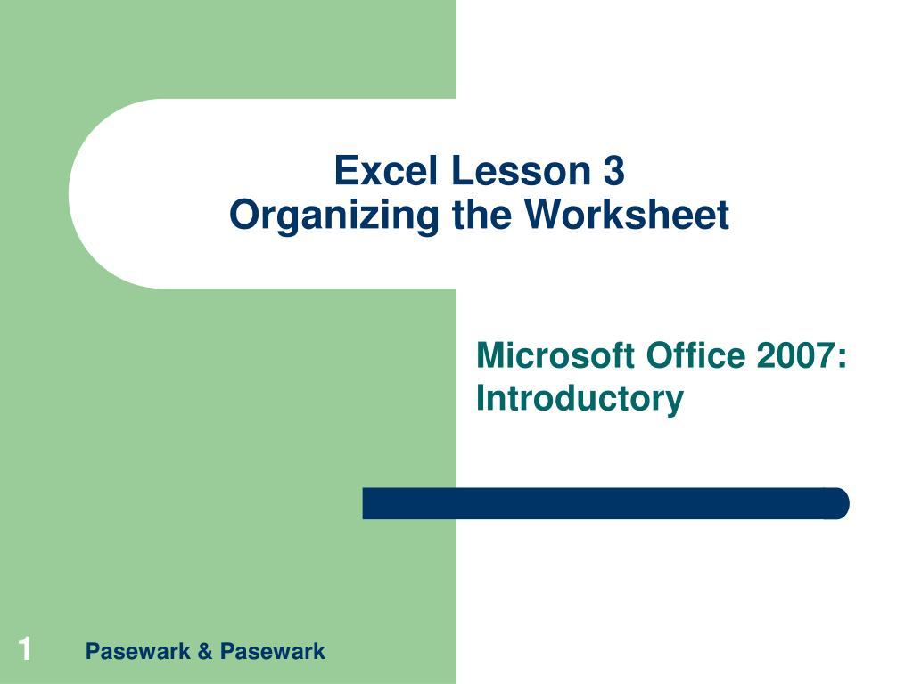 Excel Lesson 3