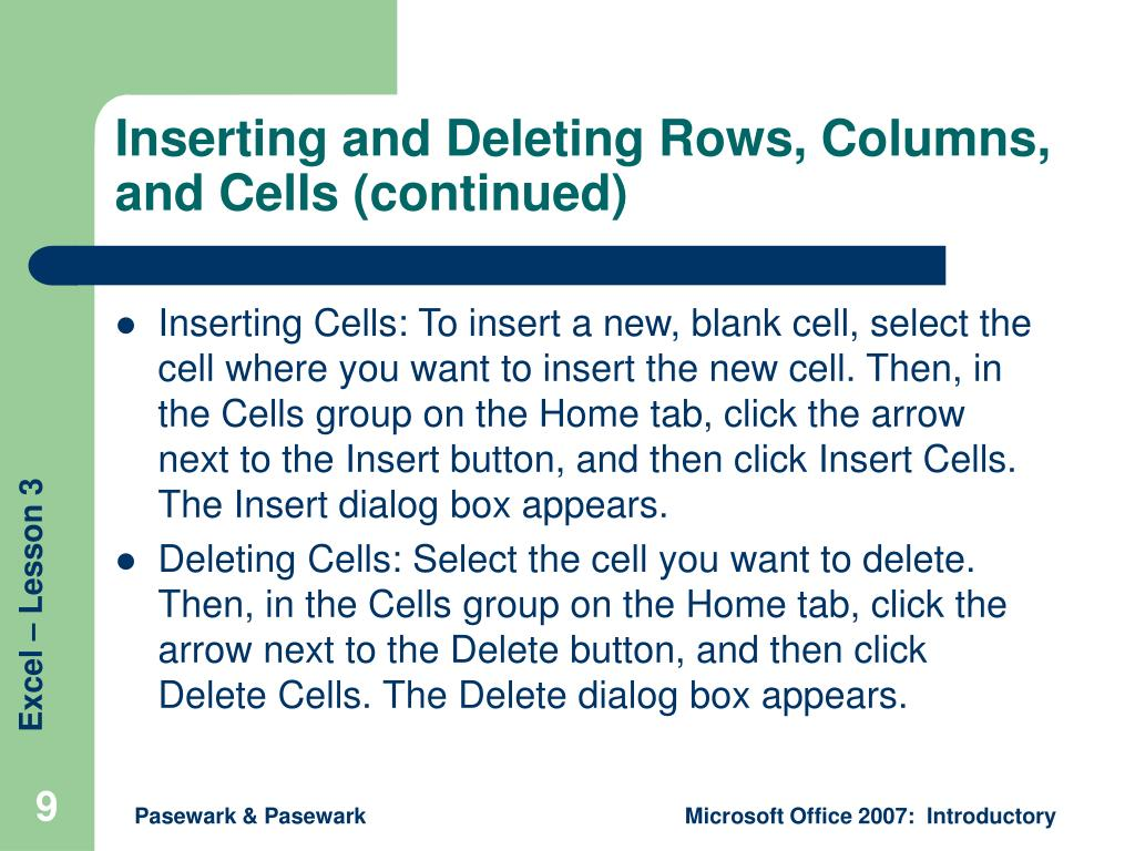 Inserting and Deleting Rows, Columns, and Cells (continued)