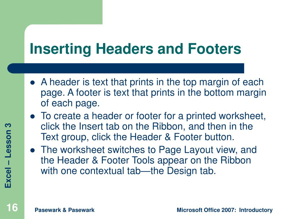 Inserting Headers and Footers