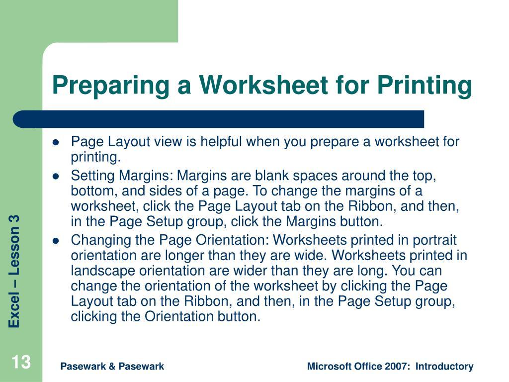 Preparing a Worksheet for Printing