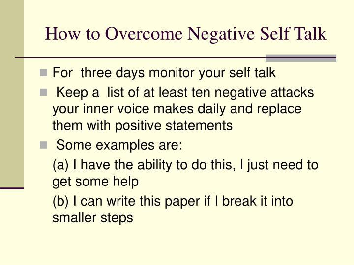 How to Overcome Negative Self Talk