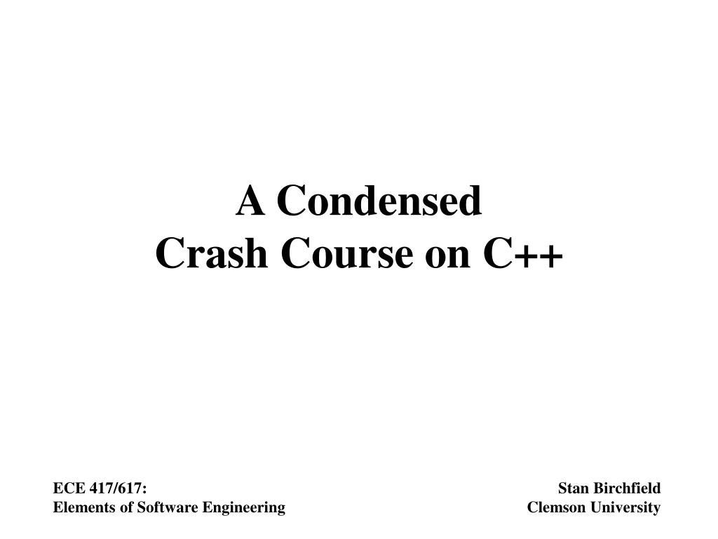 a condensed crash course on c l.