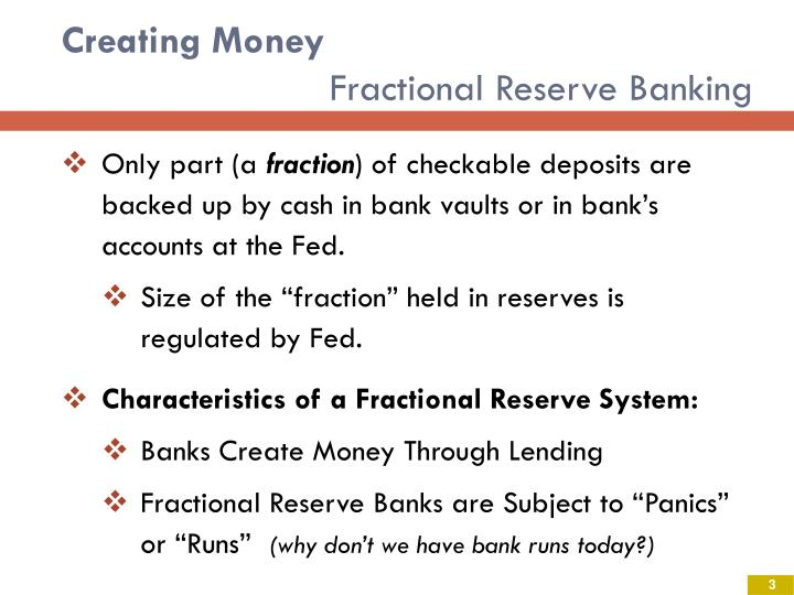 Creating money fractional reserve banking
