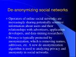 de anonymizing social networks