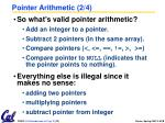 pointer arithmetic 2 4