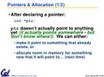 pointers allocation 1 2