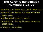 the aaronic benediction numbers 6 24 2625