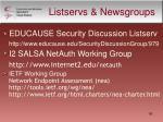 listservs newsgroups