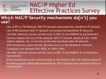 nac p higher ed effective practices survey