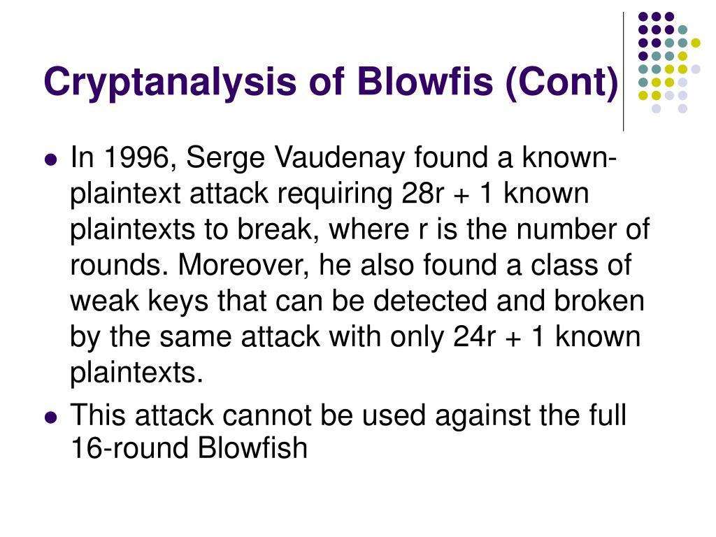 Cryptanalysis of Blowfi