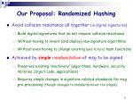 our proposal randomized hashing